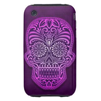 Decorative Purple Sugar Skull Tough iPhone 3 Cases