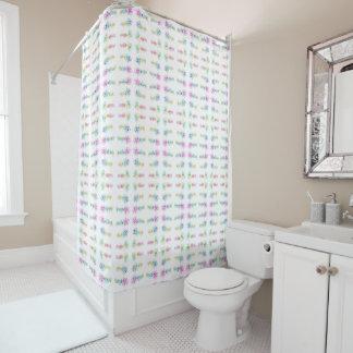 Decorative rainbow text. shower curtain