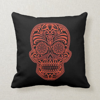 Decorative Red and Black Sugar Skull Throw Pillow