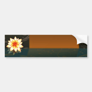 Decorative Red and Yellow blossom and Brown swirls Bumper Stickers