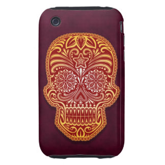 Decorative Red and Yellow Sugar Skull Tough iPhone 3 Cases