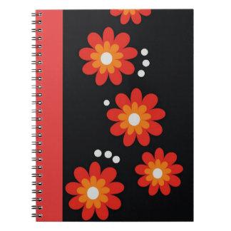 Decorative Red Floral Pattern Spiral Bound Note Book