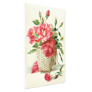 Decorative red roses gallery wrapped canvas