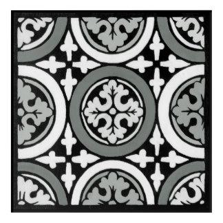 Decorative Renaissance Rosette Tile Design Acrylic Wall Art