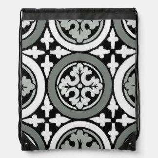 Decorative Renaissance Rosette Tile Design Drawstring Bag