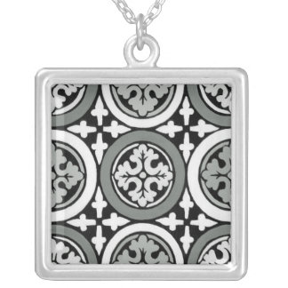 Decorative Renaissance Rosette Tile Design Silver Plated Necklace