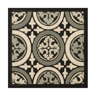 Decorative Renaissance Rosette Tile Design Wood Print