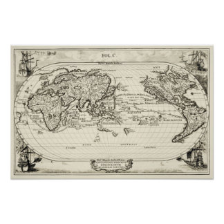 Decorative replica 16th Century Antique World Map Poster
