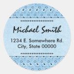 Decorative Retro Blue Dots Name Address Bookplate Sticker