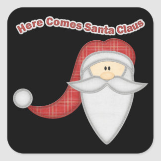 Decorative Santa Face Square Sticker