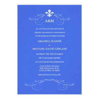 Decorative Scroll Fleur de Lis Wedding (Blue 1) Card