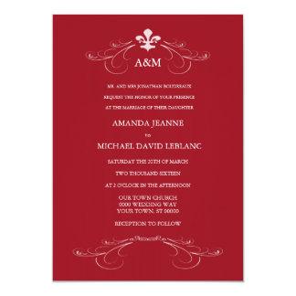 Decorative Scroll Fleur de Lis Wedding (Red) Personalized Invitations