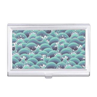 Decorative Sea Wave Background Business Card Holder