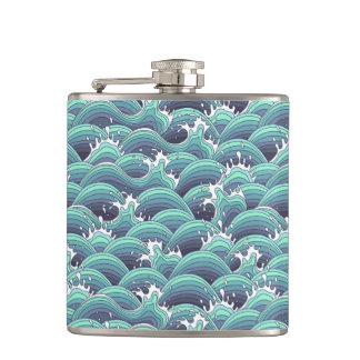 Decorative Sea Wave Background Hip Flask