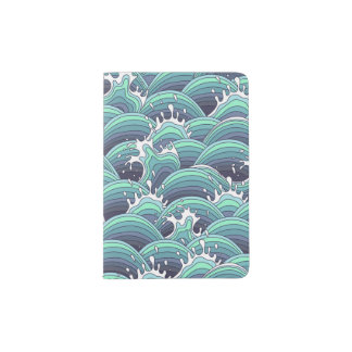 Decorative Sea Wave Background Passport Holder