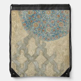 Decorative Silver Tapestry Floral Arrangement Drawstring Bag