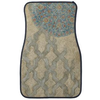 Decorative Silver Tapestry Floral Arrangement Floor Mat