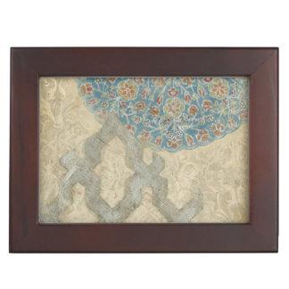 Decorative Silver Tapestry Floral Arrangement Keepsake Box
