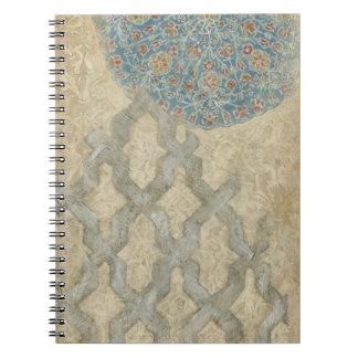 Decorative Silver Tapestry Floral Arrangement Spiral Notebook