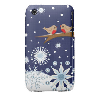 Decorative snowflakes & robins Case-Mate iPhone 3 case