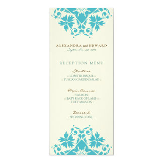 Decorative Stamp Wedding Reception Menu (aqua) 10 Cm X 24 Cm Invitation Card