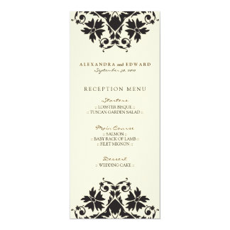 Decorative Stamp Wedding Reception Menu (black) Card