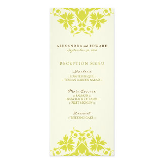 Decorative Stamp Wedding Reception Menu (citrus) 10 Cm X 24 Cm Invitation Card