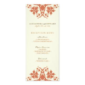 Decorative Stamp Wedding Reception Menu (coral) 10 Cm X 24 Cm Invitation Card
