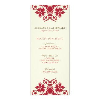 Decorative Stamp Wedding Reception Menu (crimson) 10 Cm X 24 Cm Invitation Card