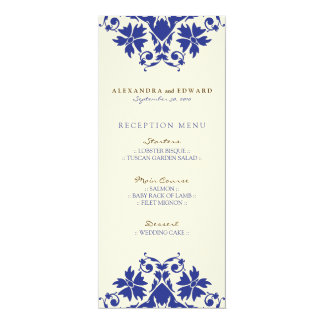 Decorative Stamp Wedding Reception Menu (navy) Card
