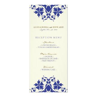 "Decorative Stamp Wedding Reception Menu (navy) 4"" X 9.25"" Invitation Card"