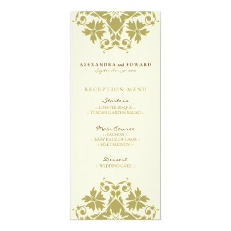Decorative Stamp Wedding Reception Menu (olive) 10 Cm X 24 Cm Invitation Card