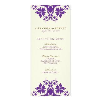 Decorative Stamp Wedding Reception Menu (purple) 10 Cm X 24 Cm Invitation Card