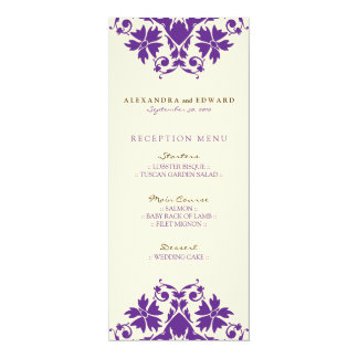 Decorative Stamp Wedding Reception Menu (purple) Card