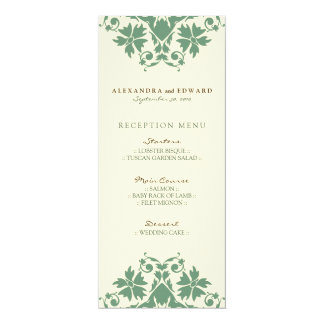 Decorative Stamp Wedding Reception Menu (sage) 10 Cm X 24 Cm Invitation Card