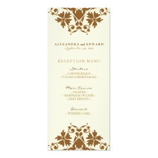 Decorative Stamp Wedding Reception Menu (sepia) 10 Cm X 24 Cm Invitation Card