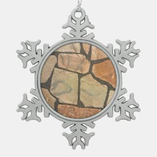 Decorative Stone Paving Look Snowflake Pewter Christmas Ornament