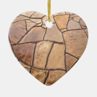Decorative stone wall with wide angle fisheye view ceramic heart decoration