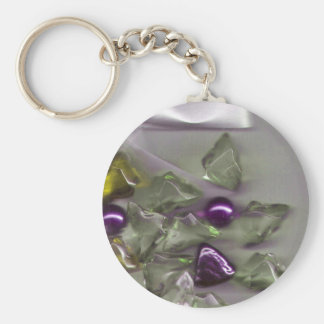 Decorative stones and a bow basic round button key ring
