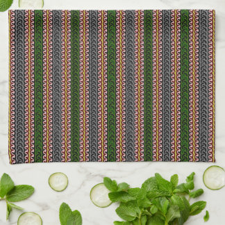 Decorative stripe kitchen towel - green/pink