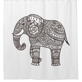 Decorative Style Elephant Shower Curtain