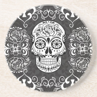 Decorative Sugar Skull Black White Gothic Grunge Beverage Coaster