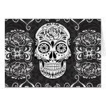 Decorative Sugar Skull Black White Gothic Grunge Greeting Cards