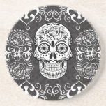 Decorative Sugar Skull Black White Gothic Grunge Beverage Coaster
