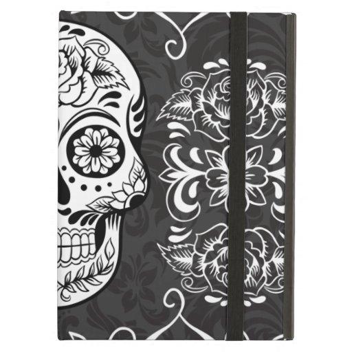 Decorative Sugar Skull Black White Gothic Grunge iPad Case