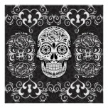 Decorative Sugar Skull Black White Gothic Grunge Print