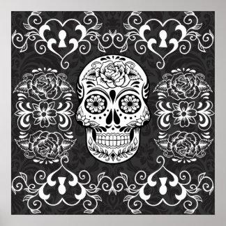 Decorative Sugar Skull Black White Gothic Grunge Poster