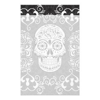 Decorative Sugar Skull Black White Gothic Grunge Stationery Paper