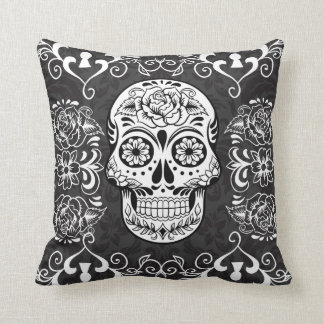 Decorative Sugar Skull Gothic Grunge Pillow