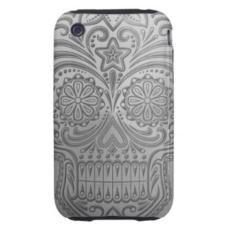 Decorative Sugar Skull with a Stainless Steel Look iPhone 3 Tough Cover